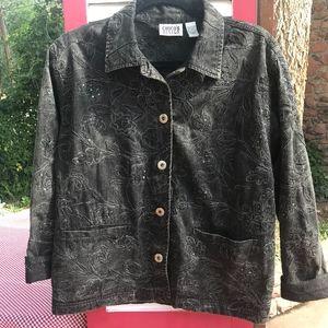 Chico's Design Black Cotton Jacket w/Sequins